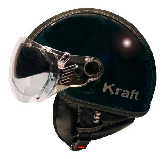 Capacete Kraft Plus Semi Revestido Preto P 56 Harley Custom
