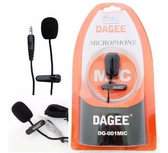 Microfone De Lapela Dagee Original Cabo 2m C/ Cabo De Nylon