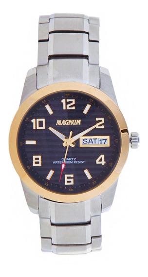 Relógio Magnum Masculino Original Prata Com Dourado Ma32649p