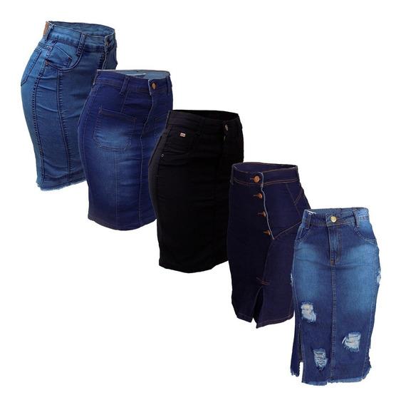 Saia Jeans Moda Evangélica Secretária Variadas Kit C/5
