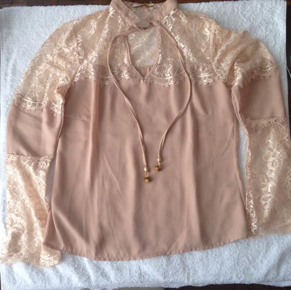 Camisa Crepe Detalhe Renda