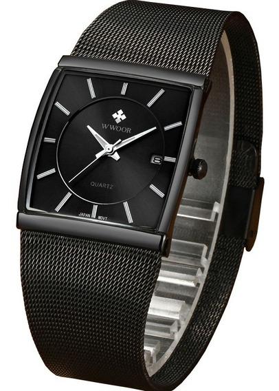 Relógio Masculino Preto Ultrafino Luxuoso C/ Caixa