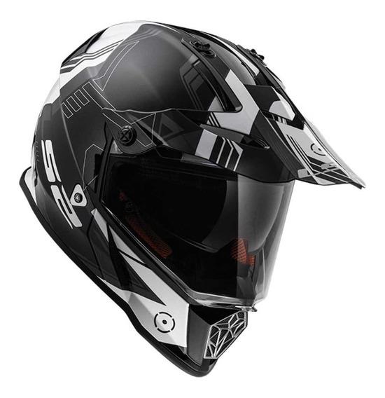 Casco Cross Moto Ls2 436 Pioneer Trigger Doble Visor Yuhmak