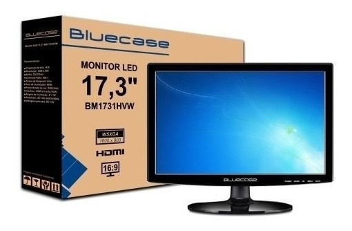 Monitor 17.3 17 Bluecase Hdmi Cftv Segurança Dvr Ps4 Xbox