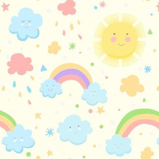 Adesivo Infantil Papel De Parede Arco Íris Nuvem Sol Céu 18u