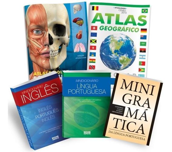 Kit 1 Minigramática 2 Minidicionários 2 Atlas Escolar