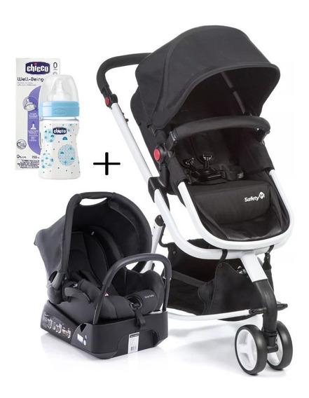 Carrinho De Bebê Travel System Mobi - Safety Black And White