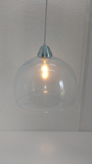 Luminaria Pendente Bola De Vidro Pequena Transparente
