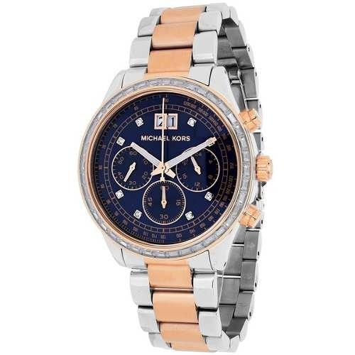 Relógio Michael Kors Mk6205 Brinkley Misto Azul Original