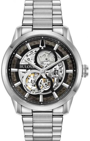 Relógio Bulova Automático Esqueleto 96a208 Original Garantia