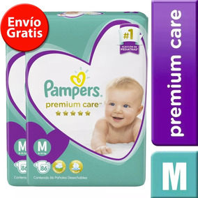 2 Paquetes Pañales Pampers Premium Care 164 Unidades Talla M