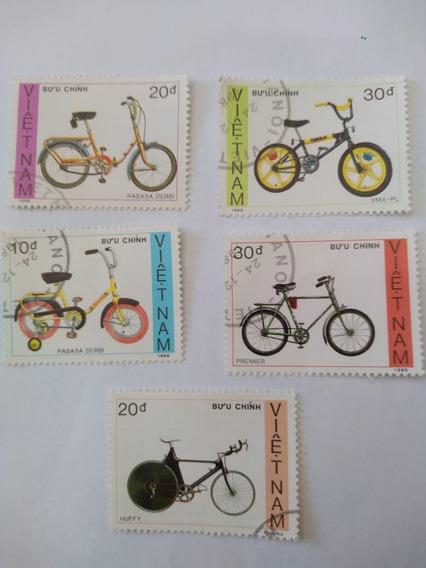 05 Selos Circulados Vietnam - Bicicletas