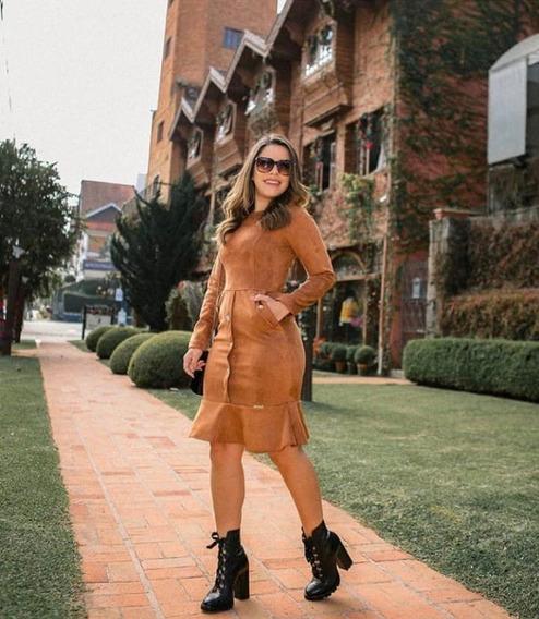 Vestido Camurça Peplum Moda Evangelica