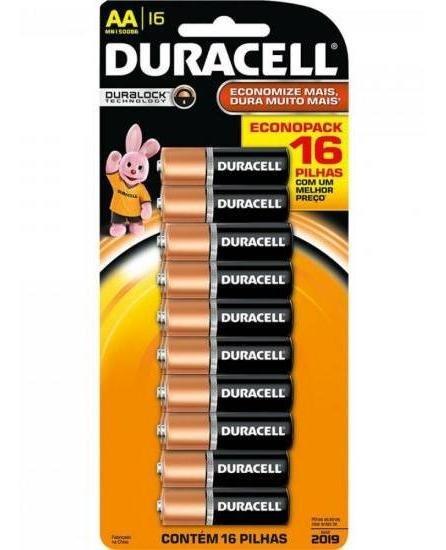 Pilha Alcalina Duracellaa (cartela C/ 16 Pilhas) - Car / 16 - Nota Fiscal - Emvio Express*