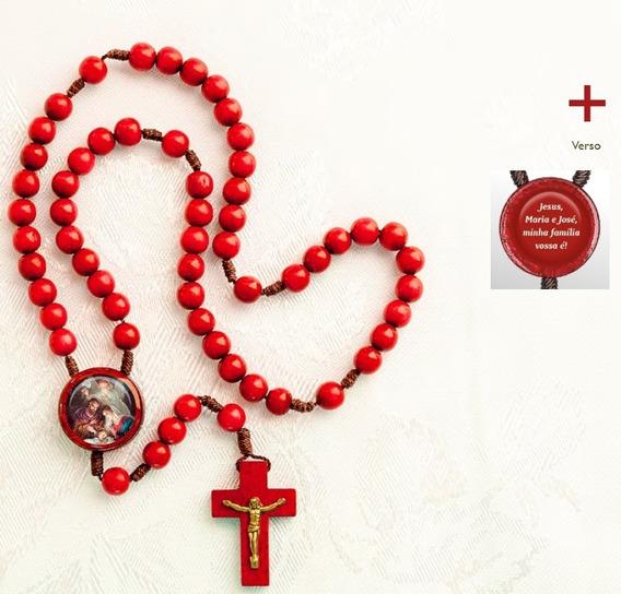 Terço Triângulo Sagrada Família Madeira Vermelha Ouro Velho Resina: Jesus, Maria E José, Minha Família Vossa É!
