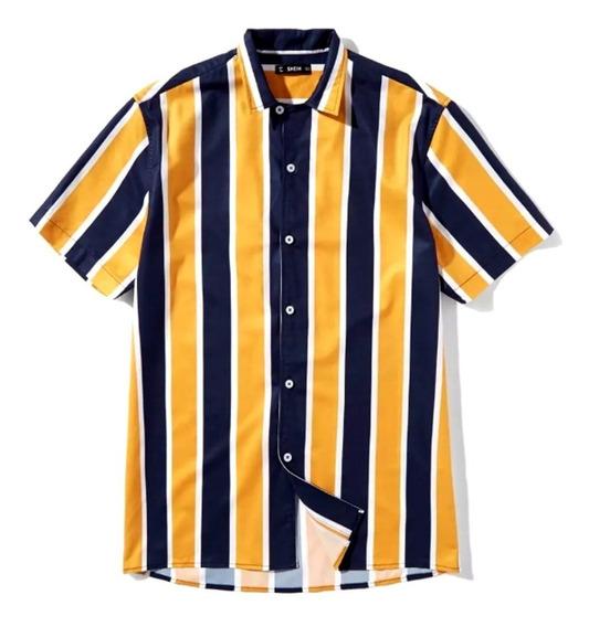 Camisa De Manga Corta De Rayas Verticales Color Amarillo