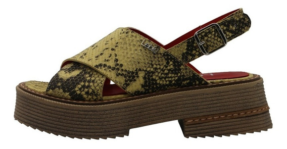 Zapatos Sandalias Mujer Cuero Amarillas Urbanas Leblu 866