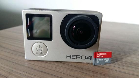 Go Pro Hero 4 Silver Completa + Cartao 64gb Classe 10
