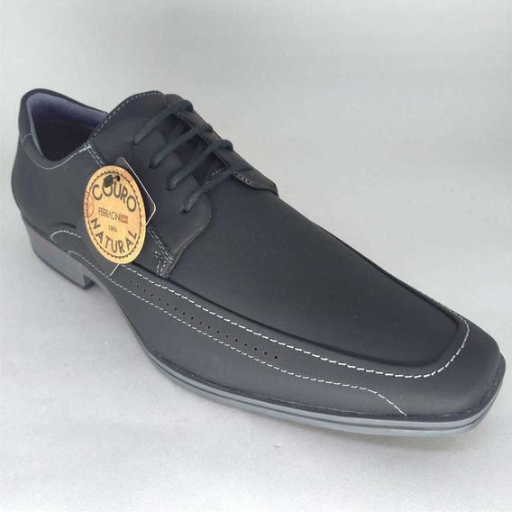 Sapato Ferracini Couro Cosmo Preto Masculino 3041