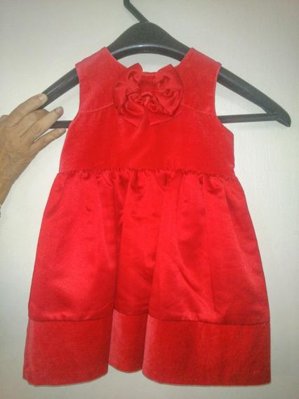 Vestido Carters Rojo De Niña Terciopelo Y Razo Fiesta Usado