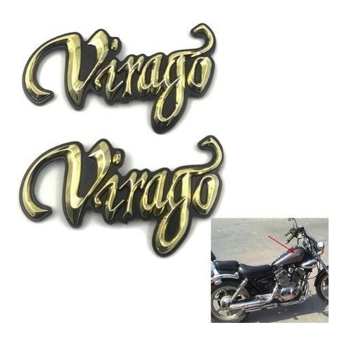 Par Adesivos Emblema Tanque Moto Yamaha Virago Dourado