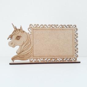 50 Lembrancinha Mini Porta Retrato Mdf Unicornio Foto 9x6 Cm