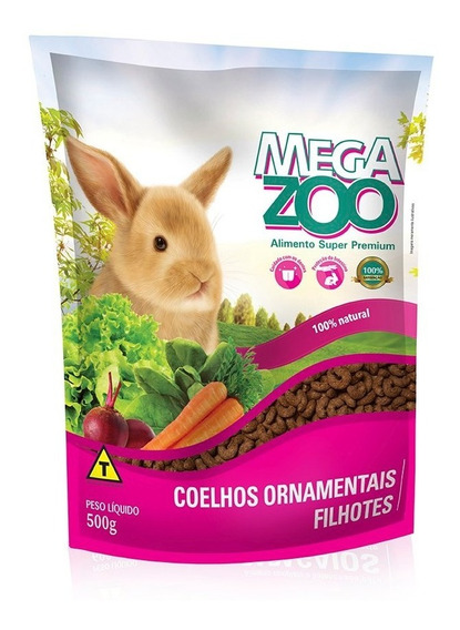 Ração Megazoo Para Coelhos Ornamentais Filhotes - 500 G