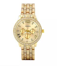 Relógio Feminino Dourado Pulseira Em Aço Estilo Champion
