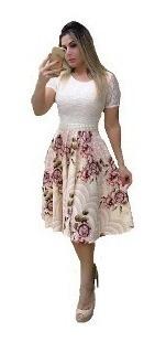 Vestido Midi Moda Evangelica Renda Gode Rodado Plus Size
