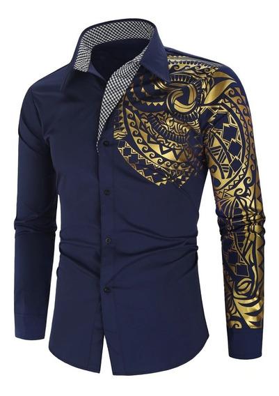 Camisa , Hombre Diseño Dorado Tela Tacto Suave Al Cuerpo