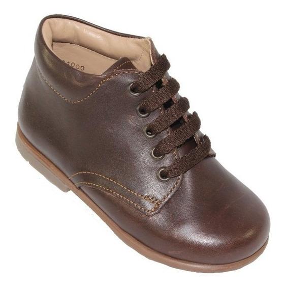 Zapato Escolar Bota Coqueta Cafe Tabaco Niño Piel 184000x