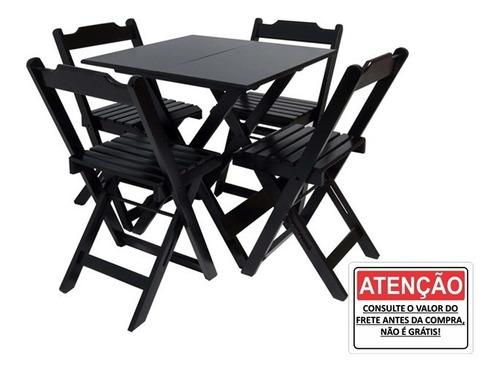 Imagem 1 de 1 de Conjunto Mesa Bar 70x70  4 Cadeiras Dobraveis Restaurantes