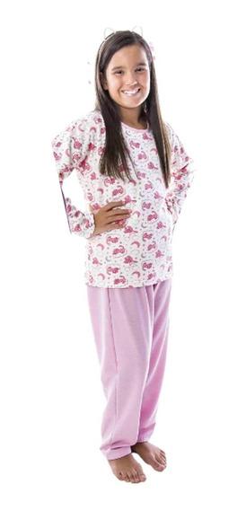 Pijama Infantil Menina Moletinho Aflanelado 2 A 6 Anos