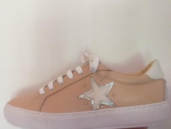 Zapatillas De Cuero Nude Vreza Shoes