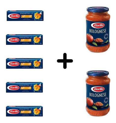 Imagen 1 de 1 de Fideos Barilla Spaghettini 5 Paquetes + 2 Salsas Bolognesa