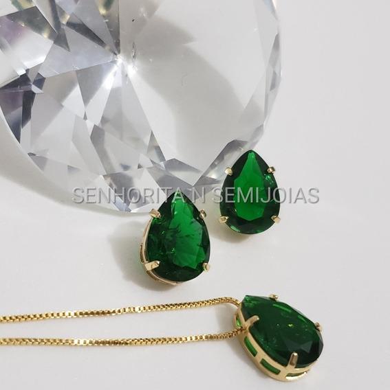 Conjunto Colar E Brinco Verde Esmeralda