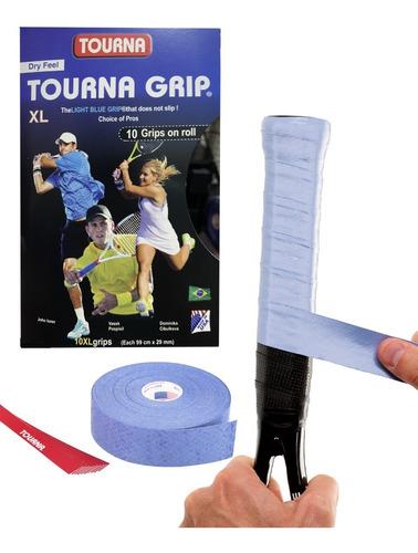 Imagem 1 de 6 de Kit 10x Un Tourna Grip Azul Original Rolo Com 10 Unidades Xl