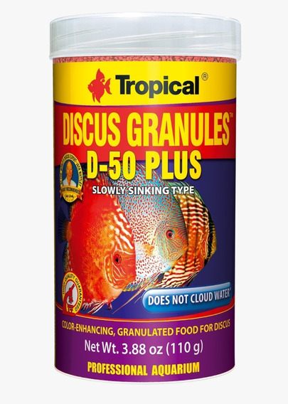 Ração Tropical Discus Gran D-50 Plus 440g Aumenta Coloração Dos Discus Vermelhos Contem Astaxantina