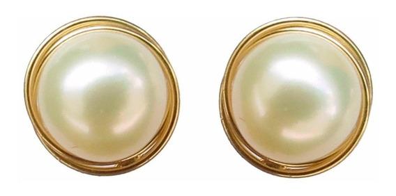Brincos De Pérola Rococó 7mm Em Ouro 18k Feminino