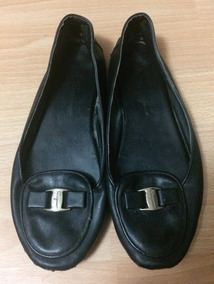 Zapatos Flats Ferragamo Vintage Negros 24 Plaquita!!