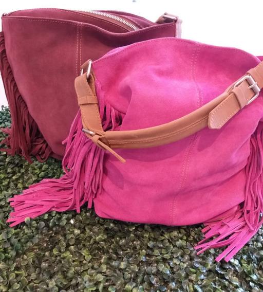 Bolsos Gamuzon Moda Cuero Accesorios Dama Ds