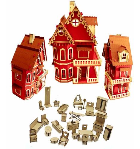 Imagem 1 de 1 de Casa Casinha Castelo Pintada Vermelha Polly Pocket + Móveis