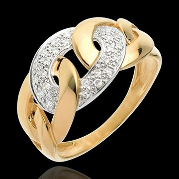 Anillo Dama Oro Amarillo Y Blanco 14 Kt Ad001