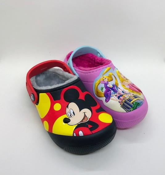 Zueco Con Piel Mickey Y Princesas Crocs