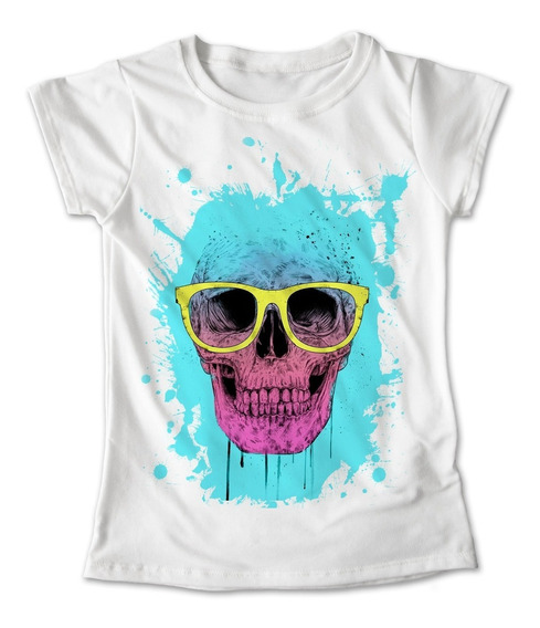 Blusa Calavera Lentes Colores Playera Estampado Rock #144
