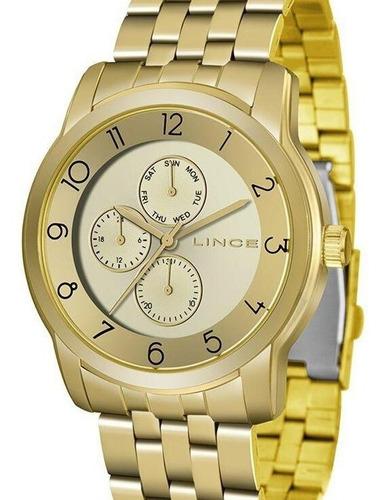 Relógio Lince Feminino Dourado Multifunção Lmg4589l C2kx