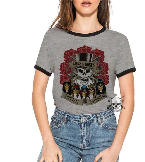Remera Ringer Guns N Roses De Mujer Elegi Tu Diseño! Parte 4