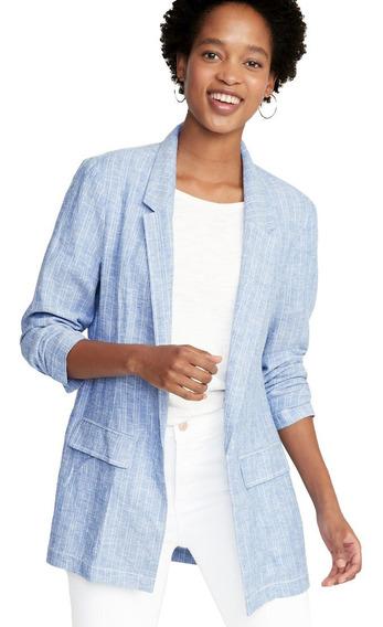 Blazer Mujer Abrigo Azul Mezclilla Saco Dama Lino Old Navy