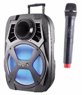 Parlante Portatil Nisuta C/carro Bluetooth Fm Mp3 40w Rms