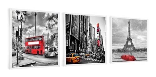 Quadro Decorativo Cidade Táxi Torre Eiffel C/ Moldura 180x60